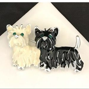 Vintage Dog Pin Enamel Crystals Terriers 11C